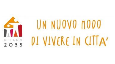 scritta Milano 2035 arancione su sfondo bianco